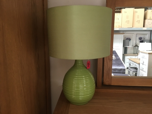 Green Ribbed Lamp