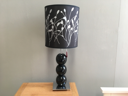 Black & Silver Floral Lamp