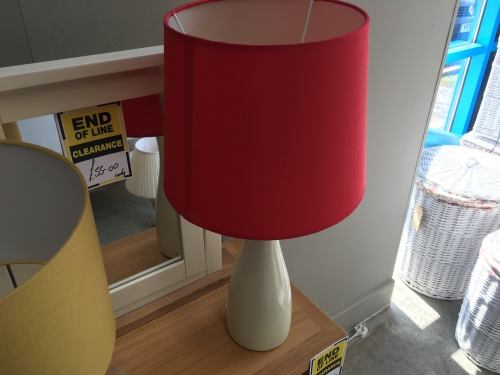 White Tall Lamp With Red Shade