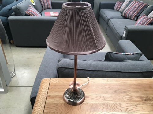 Small Brass Lamp & Brown Shade