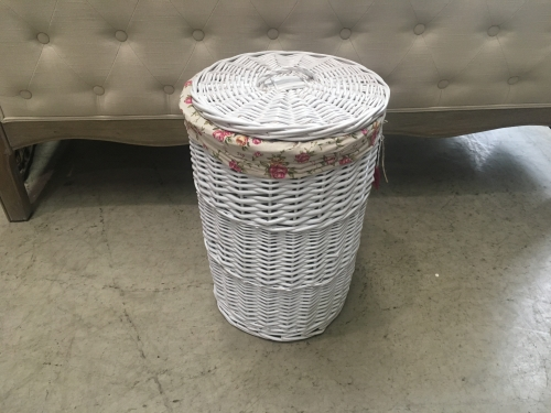 Small Round White Laundry Basket