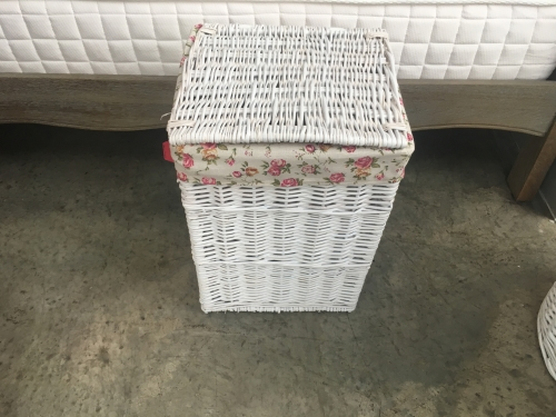 Small Square White Laundry Basket