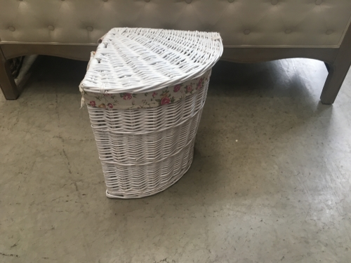 Small White Corner Laundry Basket