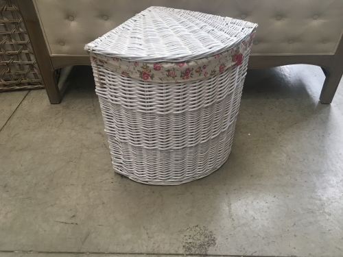 Large White Corner Laundry Basket