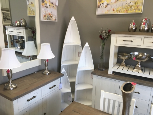 White Painted Small Boat Bookcase