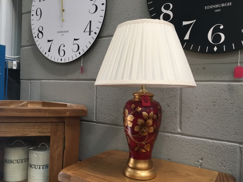 Red Grego Lamp With Cream Shade