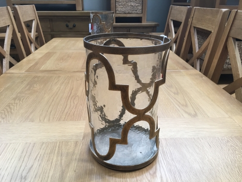Bronze And Glass Candle Holder
