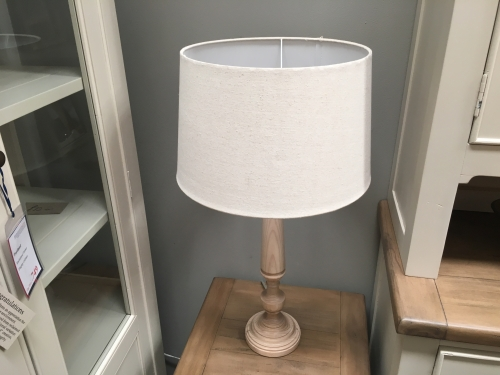 Wooden Lamp With Linen Shade