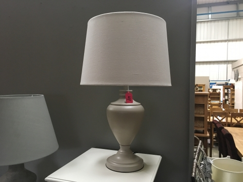 Light Grey Grand Lamp With Cream Shade