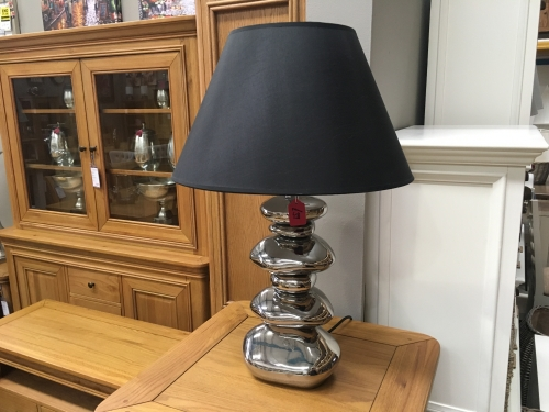 Silver Pebble Lamp With Black Shade