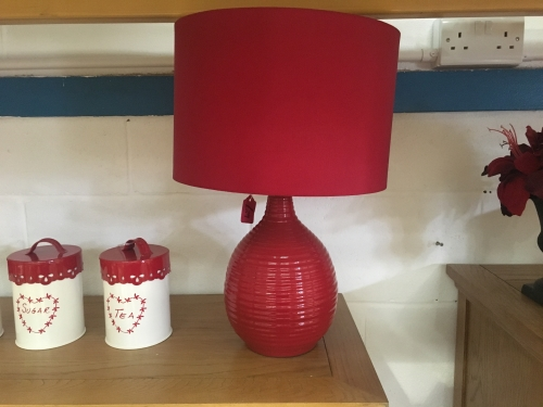 Red Ribbed Lamp