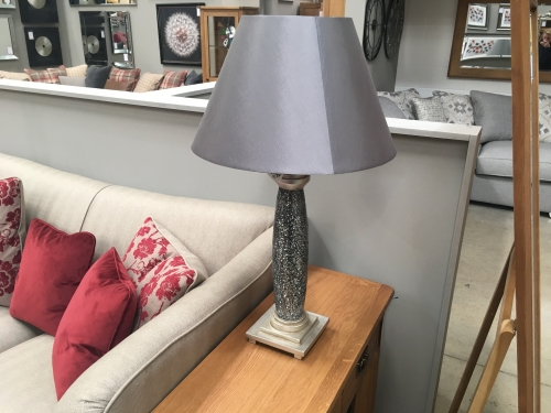 Tall Crackle Lamp With Grey Shade