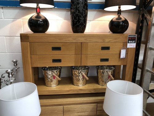 West Cubic Oak Console Table