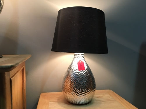 Silver Dimple Lamp With Black Shade