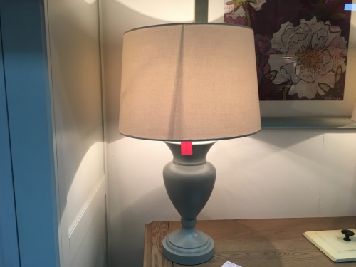 Dark Grey Grand Lamp With Cream Shade