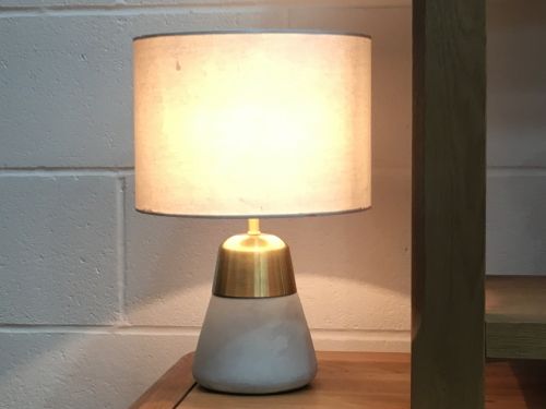 Stone Metal Lamp With Cream Shade