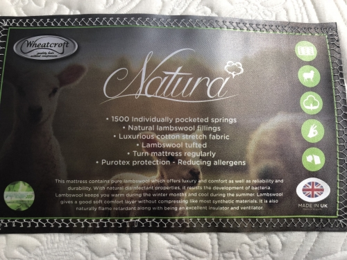 Natura 5ft 1500 Pocket Lambs Wool Cotton Stretch