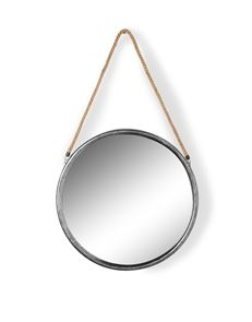 Medium Round Silver Metal Mirror on Hanging Rope