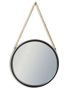 Large Round Black Metal Mirror on Hanging Rope with Hook