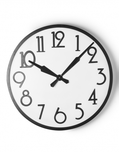 Large Round White and Black Antiqued Wall Clock