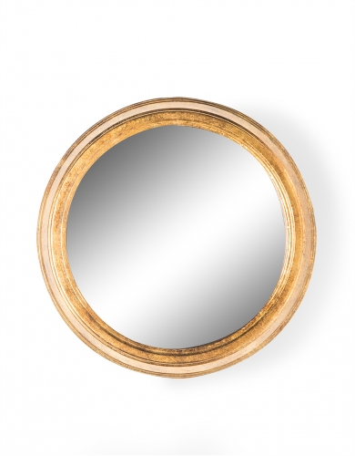Large Gold Round Metal Wall Mirror