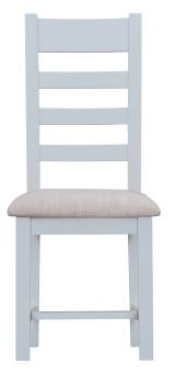 Thornton Painted White with Oak Top Ladder Back Fabric Chair