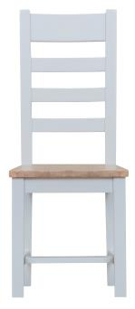 Thornton Painted White with Oak Top Ladder Back Wooden Chair