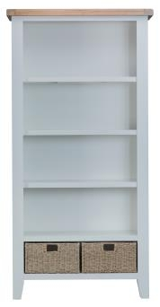 Thornton Painted White with Oak Top Large Bookcase