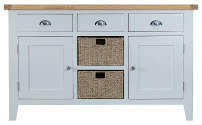 Thornton Painted White with Oak Top Large Sideboard