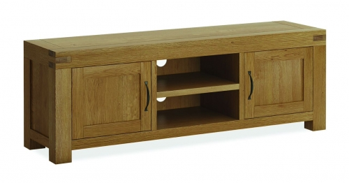 Sutton Rustic Waxed Oak Large Tv Stand