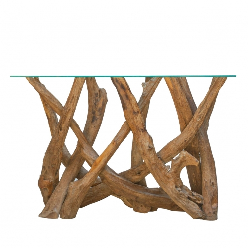 Forest Natural Teak Root Console Table with Glass Top