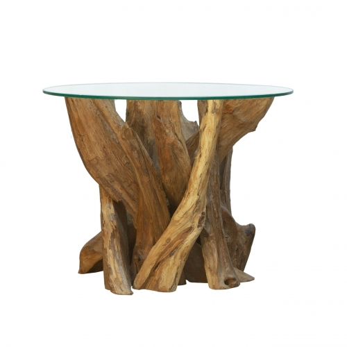 Forest Natural Teak Root Round Coffee Table with Glass Top