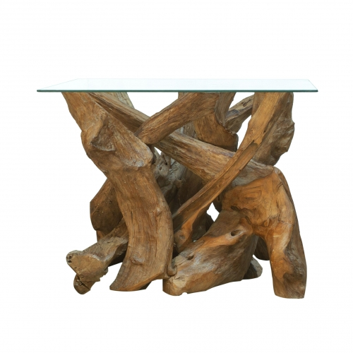 Forest Natural Teak Root Square Coffee Table with Glass Top