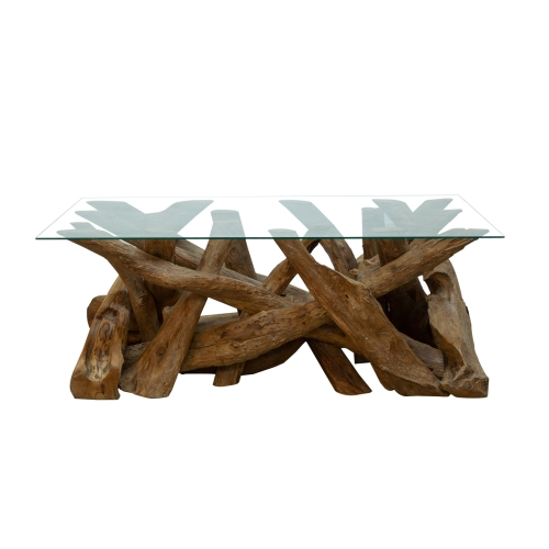 Forest Natural Teak Root Rectangular Coffee Table with Glass Top