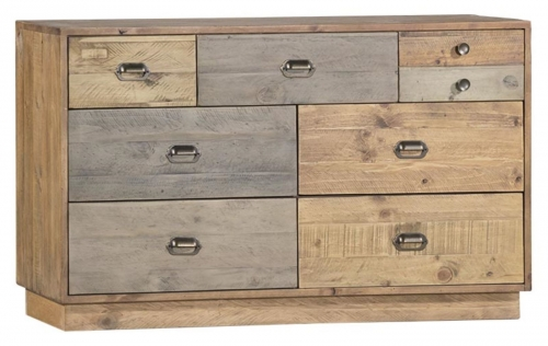 Derwent Reclaimed Pine 7 Drawer Wide Chest with Plinth