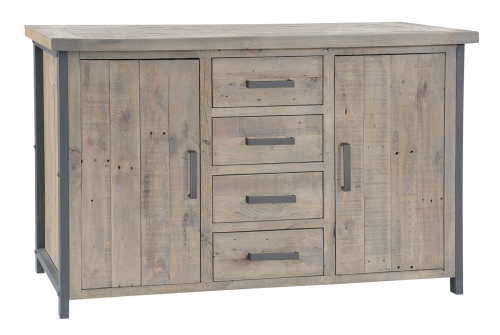 Lockton Industrial Timber Large 3 Door 3 Drawer Sideboard