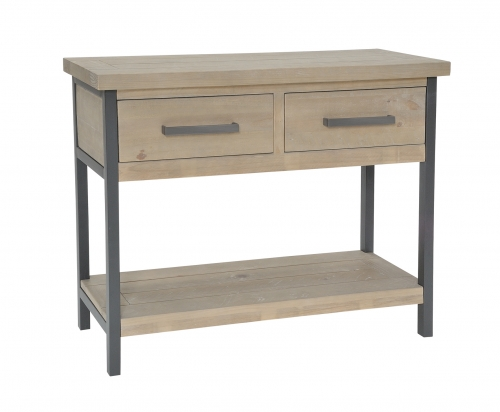 Lockton Industrial Timber 2 Drawer Console Table