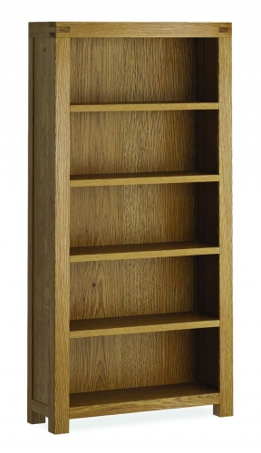 Sutton Rustic Waxed Oak Tall Wide Bookcase