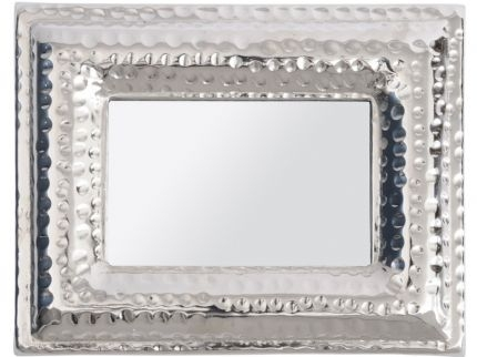 Luna Hammered Silver Aluminium 5x7 Rectangular Mini Mirror