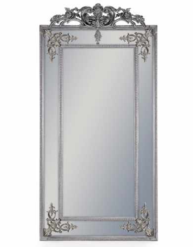 Tall Silver French Mirror with Crest