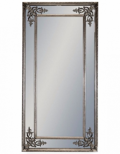 Tall Silver French Mirror without Crest