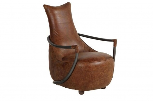 Industrial Easy Chair - Brown Leather