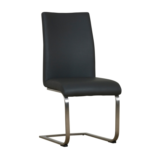 Sicily Classic High Back Contemporary Cantilever Dining Chair with Brushed Steel Legs