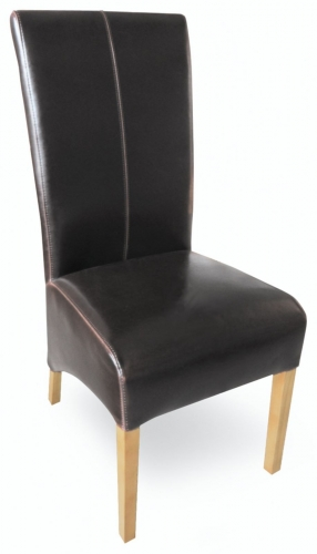 Milano Oak Leather Dining Chair - Brown