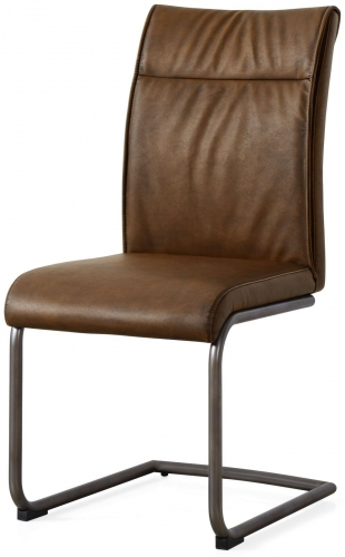 Industrial High Back Dining Chair - Antique Brown