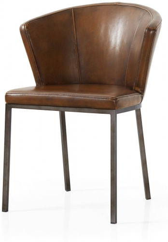 Industrial Curve Back Dining Chair - Vintage Brown
