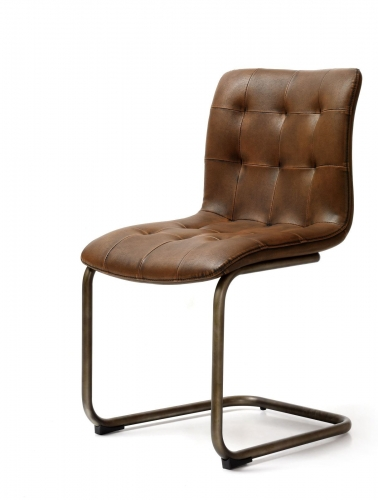 Industrial Button Back Dining Chair