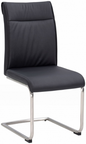 Industrial Dining Chair - High Back - Black PU - Stainless Frame