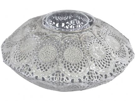 Moura Antique Silver Round Filigree Tealight Holder