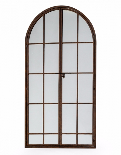 Antiqued Iron Large Arch Window Metal Mirror